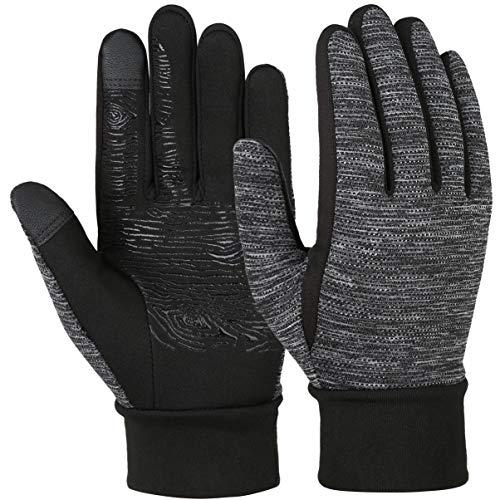 VBIGER Vollfinger Winterhandschuhe, Touchscreen Handschuhe für Kinder, Schwarz, L (8-10 Jahre alt = Etikett 10-12)