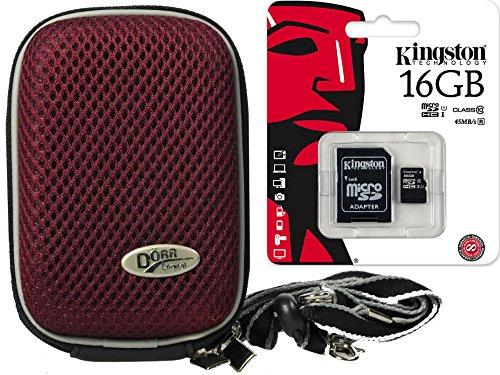 Foto Kamera Tasche Hardbox plum Set mit 16 GB SDC Karte für Sony DSC-RX100 V HX80 Sony DSC- RX100 IV WX500 HX90V RX 100III HX60V (Rx100 Sd-karte)