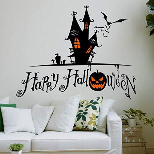Finloveg Kürbis Fledermaus Schloss Grab Wandaufkleber Für Shop Dekoration Diy Fensteraufkleber Halloween Festival Wandbild Kunst Vinyl