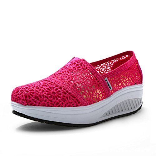 Damen Neue Atmungsaktive Lace Slip On Blumen Muster Mysterie Stil Schöne Schüttelne Dicke Sohle Sneakers Mokassins Rosa Rot