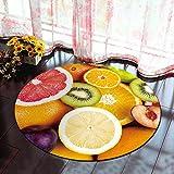 Morbuy Runder Teppich Innenbereich 3D Flur Teppich Wohnzimmer Fussabstreifer Rutschfest und Waschbar Praktische Fußabtreter (60cm, Obst)