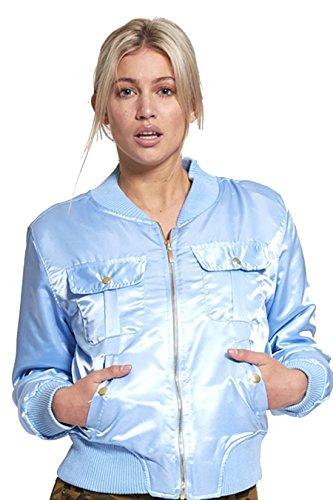 Style militaire Satin Ladies Pocket avant Blouson EUR Taille 34-40 Blue Sky