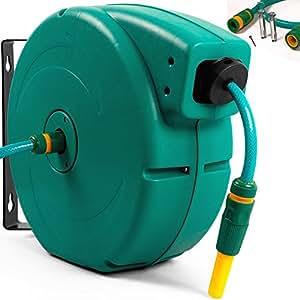 gartenschlauch schlauchtrommel aufroller wasserschlauchtrommel automatisch 20m universalkupplung. Black Bedroom Furniture Sets. Home Design Ideas