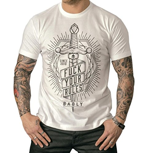 Badly Fuck your Rules T - Shirt Biker Tattoo Gothic Weiß