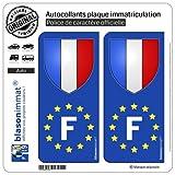 2 Autocollants Plaque immatriculation Auto F France Blason - Identifiant Européen...