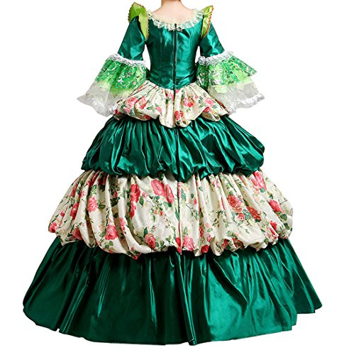 Nuoqi Femmes Satin gothique victorien princesse robe Halloween Fancy Dress Cosplay Costume CC2988D-NI