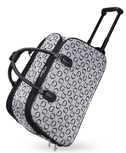 Haute Per Diva's Unisex Borsone Da Viaggio Designer Ispirato Bagaglio Maniglia Con Ruote Valigia - Nero, M Bianco Piccolo