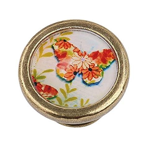 MagiDeal Vintage Cabinet Door Drawer Dresser Handle Wardrobe Bin Pull Knob Hardware - Butterfly#1