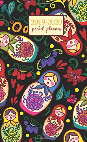2019-2020 Pocket Planner: 2 Year Pocket Monthly Calenda Planner 4 x 6.5 inch Russian dolls and floral elements design (2 Year Pocket Monthly planners) por Creative art planners