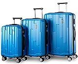 Kofferset Hartschalen 3 teilig Reisekoffer 3 tlg. Zwillingsrollen Trolleys mit Zahlenschloss, Flieks Bambus-Optik Gepäck mit 4 Doppel-Rollen, Set-XL-L-M