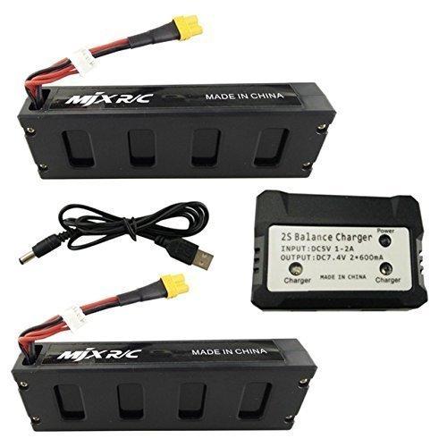 Fytoo 2PCS 7.4V 1800mAh Batería +7.4V 2 en 1 Cargador de Equilibrio para MJX B3 B3H Bugs 3H Bugs 3 F17 F100 4 Ejes Drone sin escobillas Repuestos