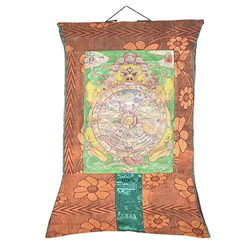 Indisches Regal, handgefertigt, Seidenstoff, tibetischer Buddhismus, Rad des Lebens, NTP-40