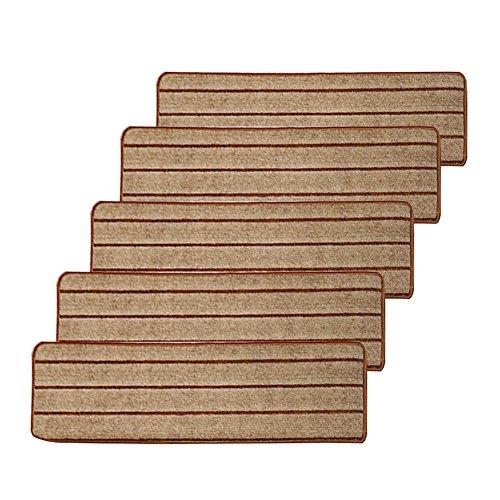 Fastar Alfombras antideslizantes gruesas para escalera, 65 x 24 cm, 5 pedazos (Camello)