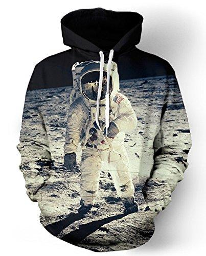 Pretty321 Women Girl Space Human landing on the Moon Sweatshirt Hoodie with Pocket Amazon