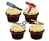Décorations de gâteaux comestibles, thème salon de coiffure, Pack of 24