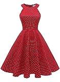 MUADRESS 1950 Vintage 1950 Kleid mit Taschen Retro Rockabilly Cocktailkleider Faltenrock Rot Kleine Weiß Punkte M