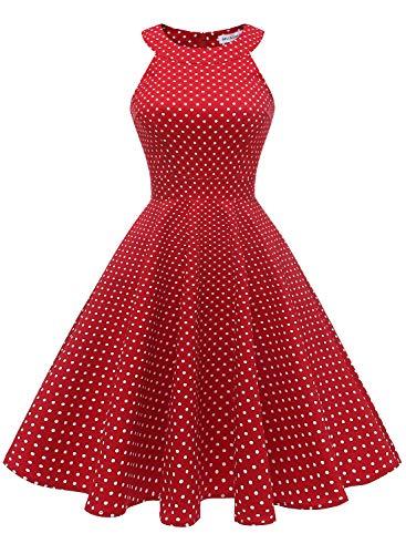 MUADRESS 1950 Vintage 1950 Kleid mit Taschen Retro Rockabilly Cocktailkleider Faltenrock Rot Kleine Weiß Punkte XL