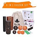 Fas Fit Faszienrolle - Foam Roller Set 8teilig - Massagerollen & Faszienbälle - Faszien Rolle für ein effektives Faszientraining - inkl. Poster, Übungsheft, E-Book und Turnbeutel (Orange - 8 in 1 Set)