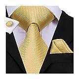 Hi-Tie Homme Doré Cravate avec boutons de manchette et Mouchoir de poche Tie Lot - Or - Taille Unique