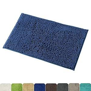 Mayshine 50x80 Dark Blue Non Slip Bath Mat Chenille
