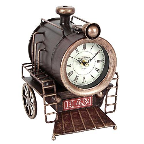 Grande metallo vintage treno a vapore caldaia quarzo Orologio da tavolo