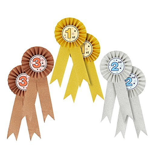 Juvale 6-pack award ribbons-1st 2nd 3rd place nastri rosette, riconoscimento awards per spelling bees, science talent fiere, mostre, oro, argento, bronzo