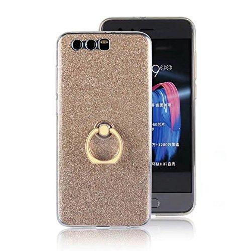 EKINHUI Case Cover Soft Flexible TPU Back Cover Case Shockproof Schutzhülle mit Bling Glitter Sparkles und Kickstand für Huawei Hornor 9 ( Color : White ) Gold