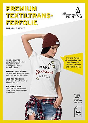 BananaPrint 10 Blatt Premium A4 T-Shirt Transferfolie Bügelfolie für helle Stoffe/hohe Qualität und Langlebigkeit/Transferpapier für Inkjet Tintenstrahldrucker/Über 100 GRATIS Motiv-Vorlagen