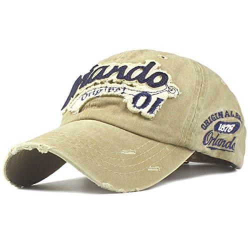 Sporty Baseballcap Orlando Original Vintage Style Used Washed Look Retro Outdoor Kappe Mütze Cap Schirmmütze Basecap verstellbar (Khaki) (Retro Herren-khaki)