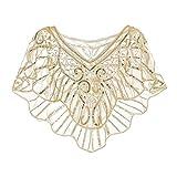 Metme Damen Umschlagtücher Stola für Abendkleid 1920s Retro Schal Hochzeit Party Braut Schal Gatsby Kostüm Accessoires Aprikose & Gold