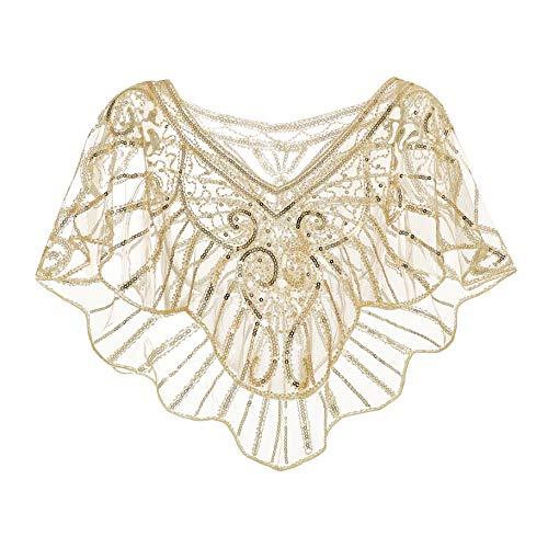 Metme Damen Umschlagtücher Stola für Abendkleid 1920s Retro Schal Hochzeit Party Braut Schal Gatsby Kostüm Accessoires Aprikose & ()