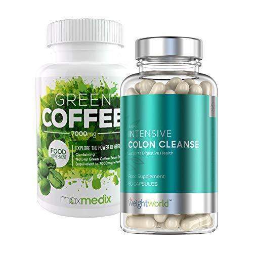 Die Darmreinigung Gewichtsverlust (Green Coffee + Intense Colon Cleanse Duopack | Effekitv Abnehmen | Natürlicher Gewichtsverlust | Detox und Darmreinigung | Regt die Fettverbrennung und die Verdauung an | Nahrungsergänzungsmittel)