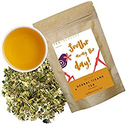 Tea Treasure | Herbal Tisane Whole Leaf Tea | Natural Ingredients: Chamomile, Moringa, Seabuckthron Cinnamon, Lemon tulsi, Caffine Free | soothing and mildly sedative effect, Relaxes your mind | Loose Leaf Herbal tea (100 Gm)
