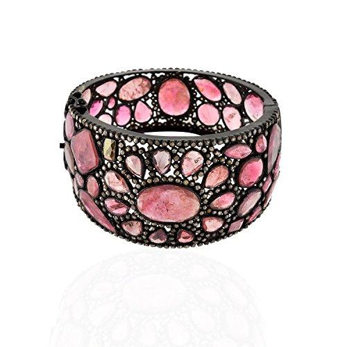 Be You elegante tormalina rosa con diamante taglio rosa reali gemme rodio nero ha placcato il braccialetto in argento sterling per le donne - Rosa Ha Placcato Argento