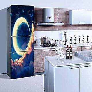 QJXX Kühlschrank Tür Aufkleber 3D Crescent Moon Tür Tapete Full Cover Kühlschrank Aufkleber DIY Wandbild Decals Ölgemälde Wasserdicht Selbstklebende Abnehmbare PVC Home Decor,60 * 180Cm