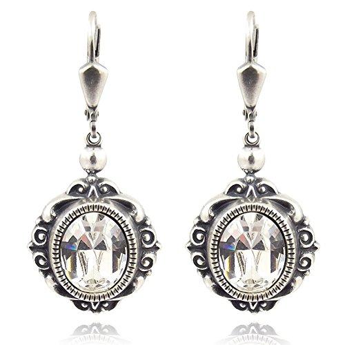 Jugendstil Ohrringe mit Kristalle von Swarovski® Silber Ohrhänger NOBEL SCHMUCK