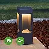 LED Außenleuchte Annika (Modern) in Schwarz aus Aluminium (A+, inkl. Leuchtmittel) von Lampenwelt | Wegeleuchte, Pollerleuchte, Wegelampe, Sockelleuchte