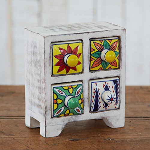 Antik Effekt weiß Keramik Set 4Schubladen 170x 155x 85mm