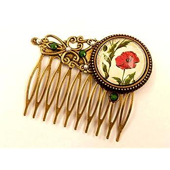 Mohn Haarkamm Blumen Haarschmuck im Antik Stil