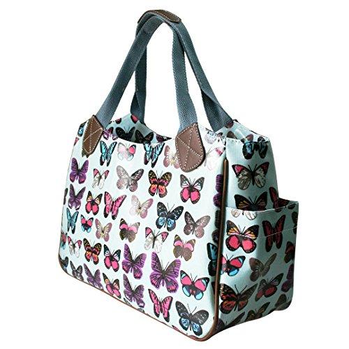 ea50c35d25619 ... Miss Lulu Damen Wachstuch Handtasche Schultertasche Einkaufstasche  Tasche Shopper Gepunktet Eule Blumen Schmetterling Schmetterling Blau