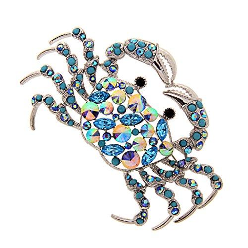 MagiDeal Charme-Silber-Ton-Kristall Rhine Meer Krabbe Brosche Tier Schmuck (Tier Broschen Modeschmuck)