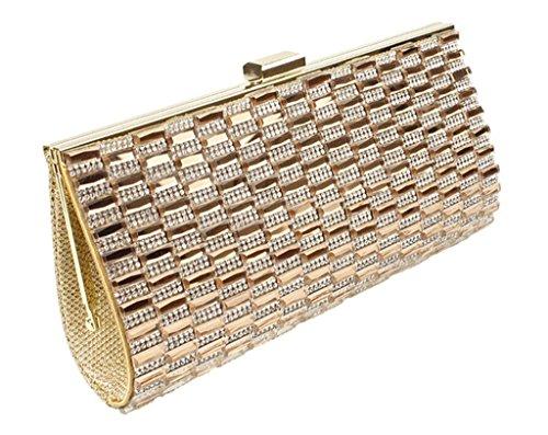 Peyviva Womens Frizioni Sacchetti di sera festa di nozze borsa borse con strass di cristallo Squre, Gold (oro) - UK-WYB035-Gold Gold