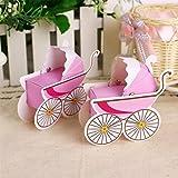 nabati 25 x Baby Baby Wagen Hochzeit Gastgeschenk Sü?igkeitkasten Geschenkbox Geschenkverpackung Bonboniere Geschenkkarton Hochzeit Dekoration Tischdeko (rosa)