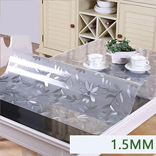 Lying Crystal Plate Nappe Nappe imperméable Anti-chaude Anti-chaud à l'épreuve des plastiques Lavage À l'extérieur Soft Rectangle en verre Tapis de café Tapis de table - Décoration de table ( taille : 90*140CM )