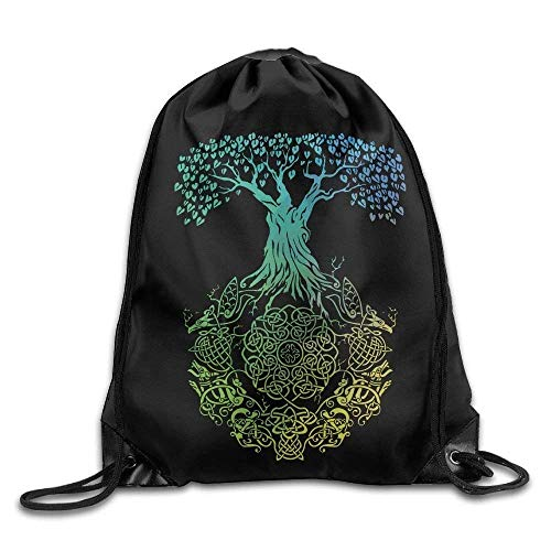 Sporttasche mit Kordelzug, Sportrucksack, Reiserucksack, Celtic Knot with Love Tree Print Drawstring Backpack Rucksack Shoulder Bags Gym Bag Sport Bag (Dollar Tree Rucksäcke)