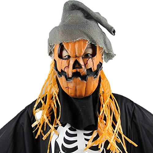 Vogelscheuche Kostüm Kürbis - YINGZU Halloween Maske Creepy Latex Kürbis Vogelscheuche Horror Geistermaske Scary Cosplay Kostüm Maske für Erwachsene Party Dekoration Requisiten