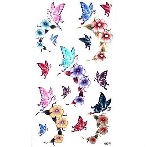 olle Tätowierung Aufkleber wasserdichte weibliche Farbe Schmetterling Rosen (Brustkrebs-farbe)