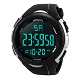 SamMoSon Herren Armbanduhr Smartwatches Digital Uhren Fitness Armbanduhr 50M Wasserdicht LED Analog Sportuhr Multifunktions Mode Outdoor Sport Uhr Damenuhren Herrenuhren (Weiß, Freie Größe)
