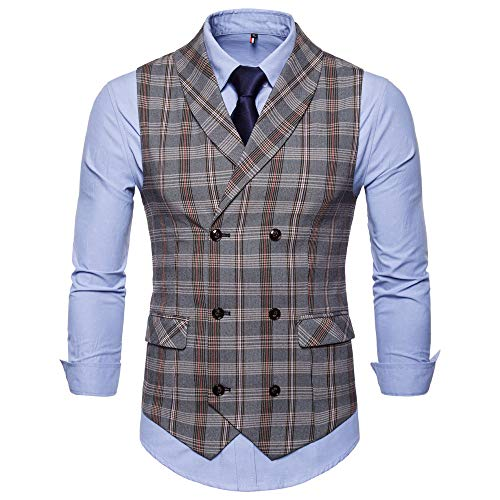 JYJM Herren Plaid Print Sleeveless Weste Herren Jacke Jacke Herren Striped Printed Weste Herren Business Shirts Weste Herrenmode Joker Sleeveless Weste Herren Hochzeit Sleeveless Jacket Plaid Wool Shirt Jacket