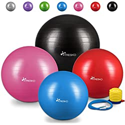 TRESKO® Pelota de Gimnasia Anti-Reventones | Bola de Yoga Pilates y Ejercicio | Balón para Sentarse | Balon de Ejercicio para Fitness | 300 kg | con Bomba de Aire | Púrpura | 85cm